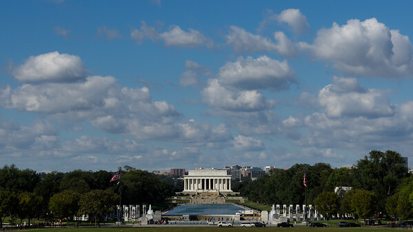 Lincoln Memorial and reflecting pool view from Washington Monument
